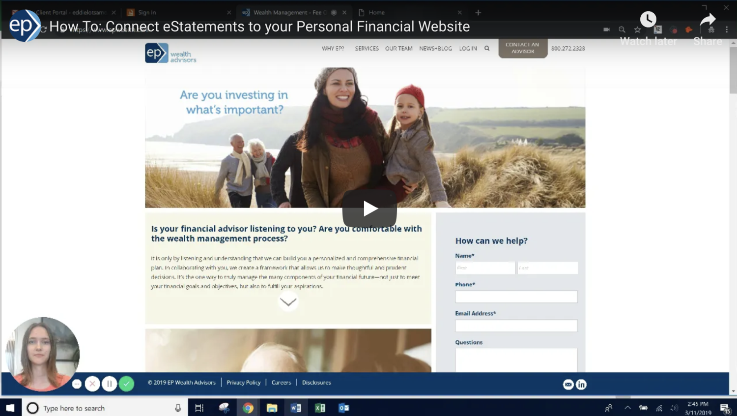 How To: Connect Your Personal Financial Website to eStatements (video)