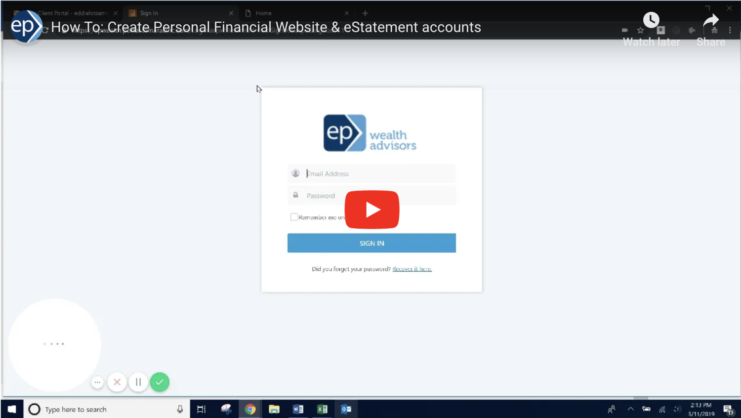 How To: Set Up Your Personal Financial Website & eStatements (video)